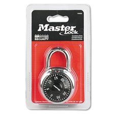 "Master Lock® Combination Lock, Stainless Steel, 1 7/8"" Wide, Black Dial"