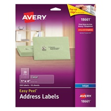 Avery® Clear Easy Peel Address Labels, Inkjet, 1 x 4, 200/Pack