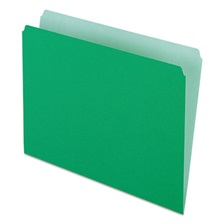 Pendaflex® Colored File Folders, Straight Cut, Top Tab, Letter, Green/Light Green, 100/Box