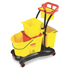 Rubbermaid® Commercial WaveBrake 35 Quart Mopping Trolley Side Press, Yellow