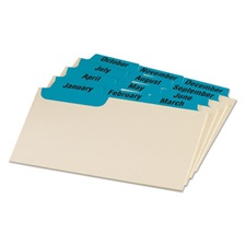 Oxford™ Laminated Index Card Guides, Monthly, 1/3 Tab, Manila, 3 x 5, 12/Set