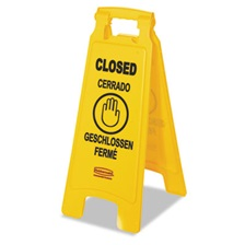 "Rubbermaid® Commercial Multilingual ""Closed"" Sign, 2-Sided, Plastic, 11w x 1.5d x 26h, Yellow"