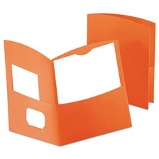 Oxford™ Contour Two-Pocket Recycled Paper Folder, 100-Sheet Capacity, Orange