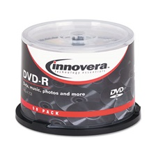Innovera® DVD-R Discs, 4.7GB, 16x, Spindle, Silver, 50/Pack