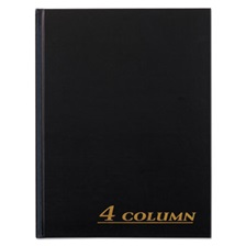 Adams® Account Book, 4 Column, Black Cover, 80 Pages, 7 x 9 1/4
