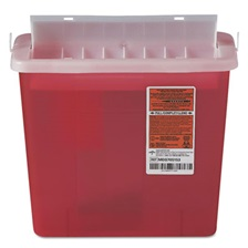 Medline Sharps Container for Patient Room, Plastic, 5qt, Rectangular, Red