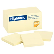 Highland™ Self-Stick Notes, 3 x 3, Yellow, 100-Sheet, 18/Pack