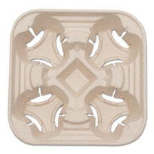 NatureHouse® Heavyweight 4-Cup Carry Tray, 6 x 2 x 6, Natural, 300/Carton