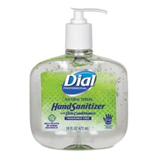 Dial® Professional Antibacterial Gel Hand Sanitizer w/Moisturizers, 16oz Pump, Fragrance-Free, 8/Ct