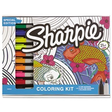 Sharpie® Adult Coloring Kit, Aquatic Theme Coloring Book with 20 Markers