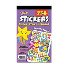 TREND® Sticker Assortment Pack, Super Stars and Smiles, 738 Stickers/Pad