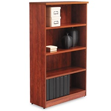 Alera® Alera Valencia Series Bookcase, Four-Shelf, 31 3/4w x 14d x 55h, Medium Cherry