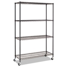 Alera® Complete Wire Shelving Unit w/Caster, Four-Shelf, 48 x 18 x 72, Black