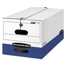 Bankers Box® LIBERTY Heavy-Duty Strength Storage Box, Letter, 12 x 24 x 10, White/Blue, 12/CT
