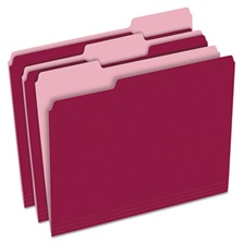 Pendaflex® Colored File Folders, 1/3 Cut Top Tab, Letter, Burgundy/Light Burgundy, 100/Box