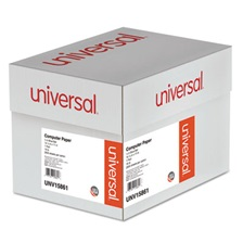 Universal® Blue Bar Computer Paper, 18lb, 14-7/8 x 11, Perforated Margins, 2600 Sheets