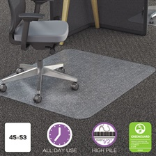 deflecto® Clear Polycarbonate All Day Use Chair Mat for All Pile Carpet, 45 x 53