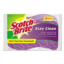 Scotch-Brite® Stay Clean Non-Scratch Scrub Sponges, 3 3/16 x 7/8 x 4 3/4, Purple, 3/Pack