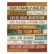 "DAX® Motivational Poster, 16 x 20, ""Our Family Rules"", Dark Walnut"