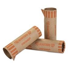 Coin-Tainer® Preformed Tubular Coin Wrappers, Quarters, $10, 1000 Wrappers/Box