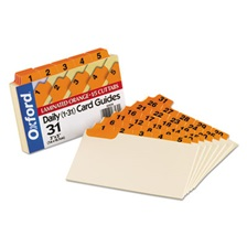 Oxford™ Laminated Index Card Guides, Daily, 1/5 Tab, Manila, 3 x 5, 31/Set