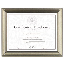 DAX® Antique Colored Document Frame w/Certificate, Plastic, 8 1/2 x 11, Silver