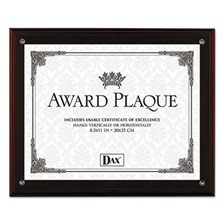 DAX® Award Plaque with Easel, 8 1/2 x 11, Mahogany Frame