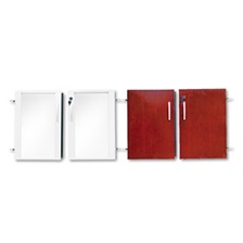 Mayline® Doors for Veneer Low Wall Cabinet, 36w x 29-1/2h, Sierra Cherry/Glass, 4/Set