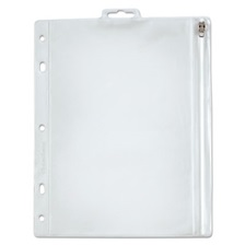 Oxford™ Zippered Ring Binder Pocket, 10 1/2 x 8, Clear