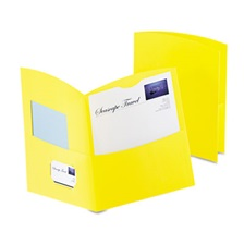 Oxford™ Contour Two-Pocket Recycled Paper Folder,  100-Sheet Capacity, Yellow