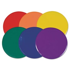 "Champion Sports Poly Spot Marker Set, 9"" Disks, Assorted Colors, 6/Set"
