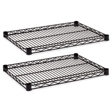 Alera® Industrial Wire Shelving Extra Wire Shelves, 24w x 18d, Black, 2 Shelves/Carton
