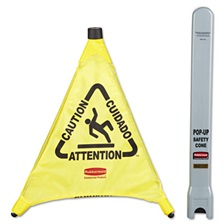 "Rubbermaid® Commercial Multilingual ""Caution"" Pop-Up Safety Cone, 3-Sided, Fabric, 21 x 21 x 20, Yellow"