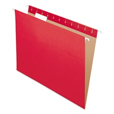 Pendaflex® Colored Hanging Folders, 1/5 Tab, Letter, Red, 25/Box