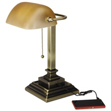 "Alera® Traditional Banker's Lamp w/USB, 16""High, Amber Glass Shade w/Antique Brass Base"