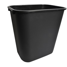 25 Qt. Rectangular Garbage Can Black