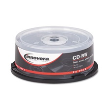 Innovera® CD-RW Discs, 700MB/80min, 12x, Spindle, Silver, 25/Pack