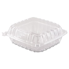 Dart® ClearSeal Hinged-Lid Plastic Containers, 8 3/10 x 8 3/10 x 3, Clear, 250/Carton