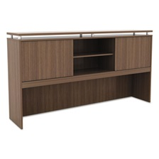 Alera® Alera Sedina Series Hutch with Sliding Doors, 72w x 15d x 42 1/2h, Modern Walnut