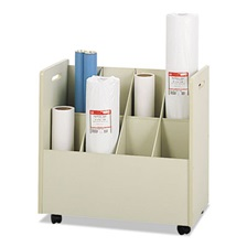 Safco® Laminate Mobile Roll Files, Eight Compartments, 30-1/8 x 15-3/4 x 29-1/4, Putty