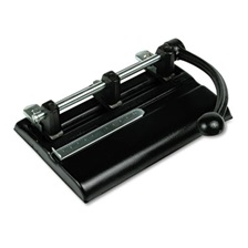 "Master® 40-Sheet Lever Action Two- to Seven-Hole Punch, 13/32"" Holes, Black"