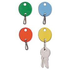 SteelMaster® Oval Snap-Hook Key Tags, Plastic, 1 1/2 x 1 1/2, Assorted, 20/Pack