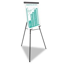 "Universal® Heavy Duty Presentation Easel, 69"" Maximum Height, Metal, Black"