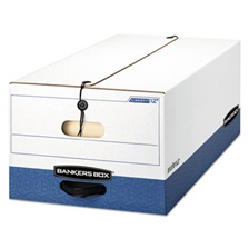 Bankers Box® LIBERTY Heavy-Duty Strength Storage Box, Legal, 15 x 24 x 10, White/Blue, 12/CT