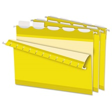 Pendaflex® Colored Reinforced Hanging Folders, 1/5 Tab, Letter, Yellow, 25/Box