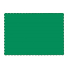 Hoffmaster® Solid Color Scalloped Edge Placemats, 9 1/2 x 13 1/2, Jade, 1000/Carton