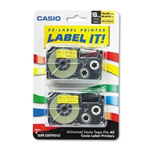 Casio® Tape Cassettes for KL Label Makers, 18mm x 26ft, Black on Yellow, 2/Pack