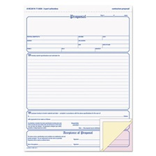 Adams® Contractor Proposal Form, 3-Part Carbonless, 8 1/2 x 11 7/16, 50 Forms