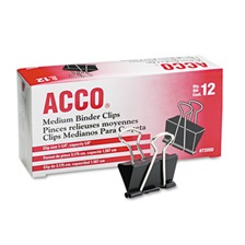 "ACCO Medium Binder Clips, Steel Wire, 5/8"" Cap, 1 1/4""w, Black/Silver, Dozen"