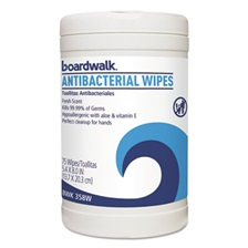 Boardwalk® Antibacterial Wipes, 8 x 5 2/5, Fresh Scent, 75/Canister, 6 Canisters/Carton